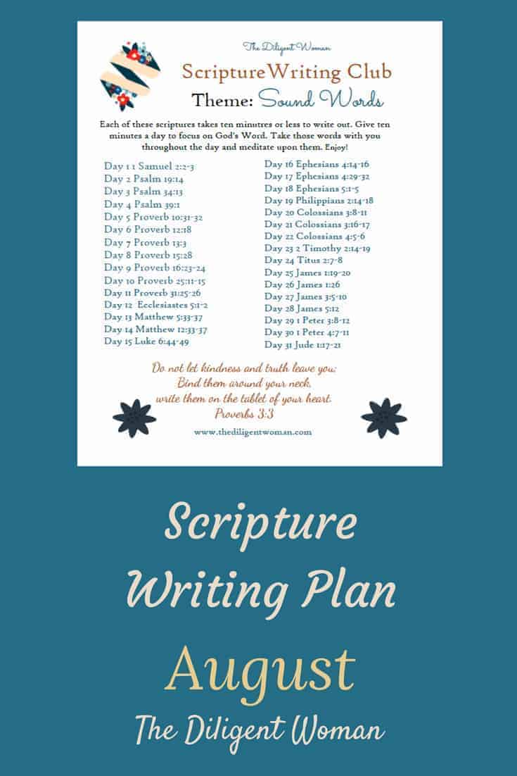 Sound Words - August Scripture Writing is all about choosing our words carefully. Join us as we learn from the Creator of language the best way to use our words.