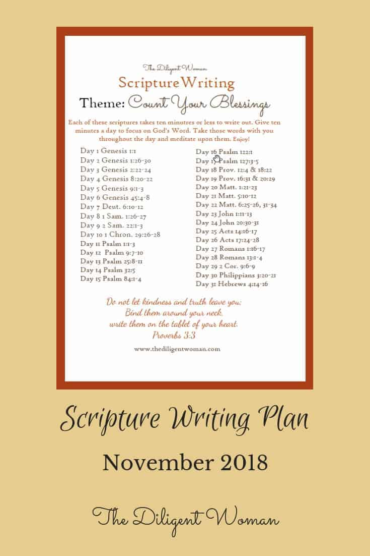 Scriptures to help you Count Your Blessings. When times are hard, we need help to remember the good. When times are good, we need to remember where good things come from. Join us for 31 days of writing scriptures that help us to count our blessings each day.